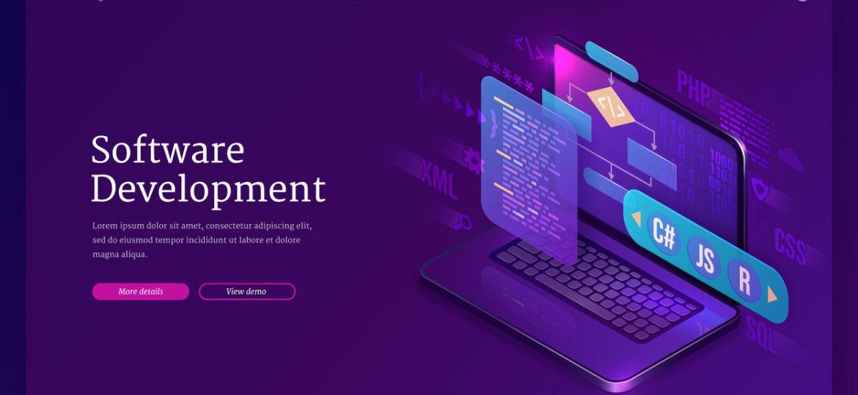 Software development, coding isometric landing
